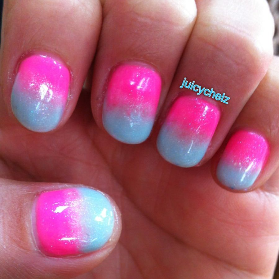Pink And Blue Nail Polish: Nails-Shellac Ombré Nails Hot Pink And Light Baby Blue By