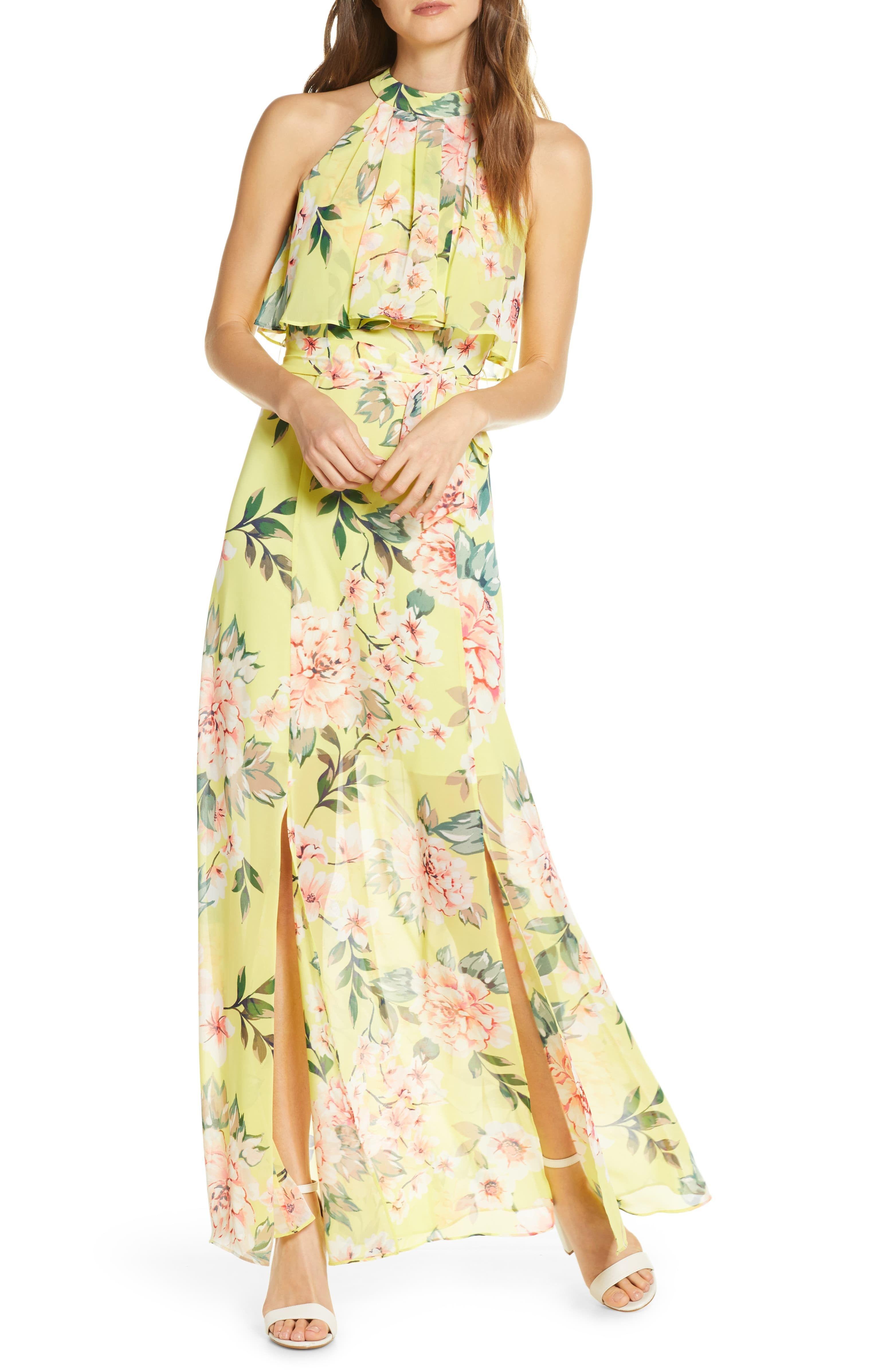 Yellow Floral Chiffon Maxi Dress Springoutfit Springdresses Weddingguest Dresses Springstyle Affiliatel In 2020 Chiffon Maxi Dress Maxi Dress Maxi Dress Online