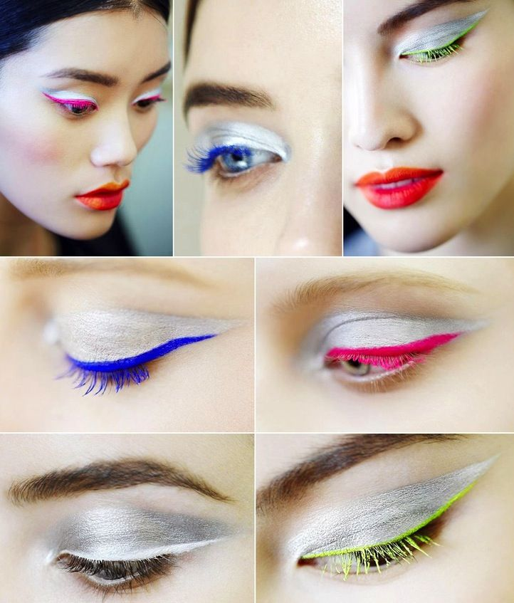 Silver shadow + colorful eyeliner is a stunning combo!
