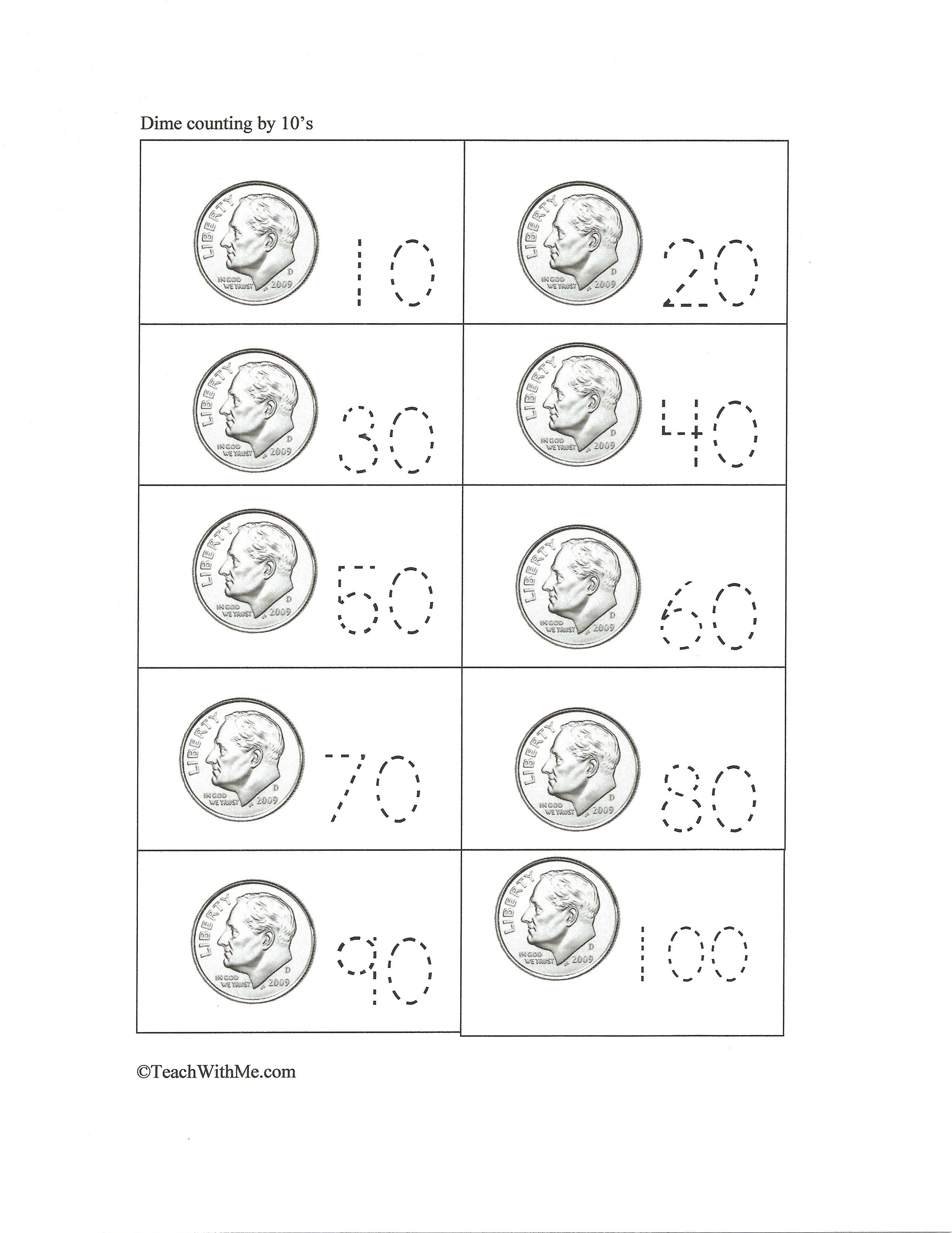 Counting Dimes By 10 S Free Templates