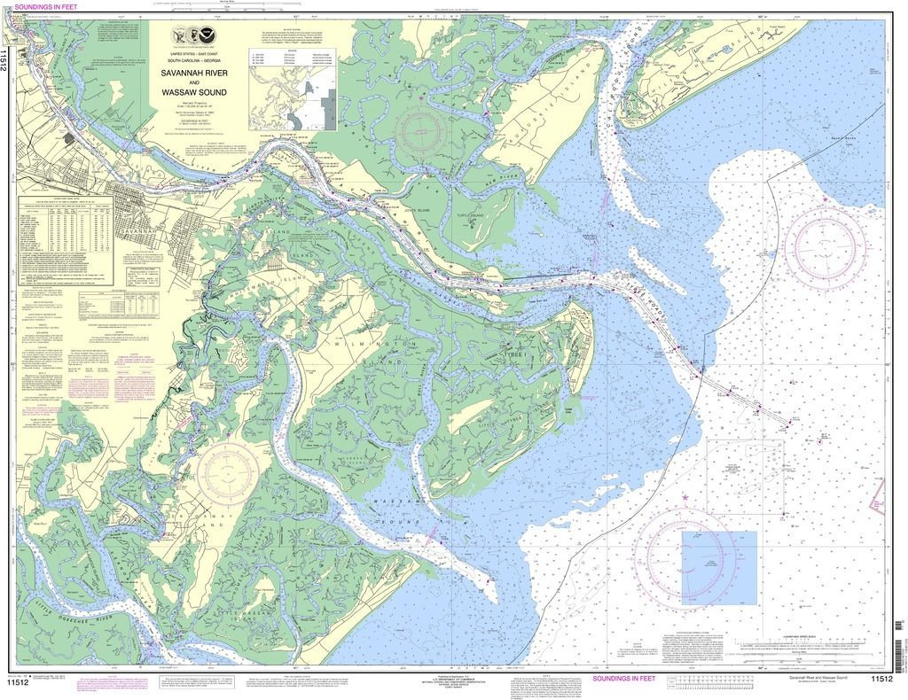 NOAA Nautical Chart 11512 Savannah River and Wassaw Sound The