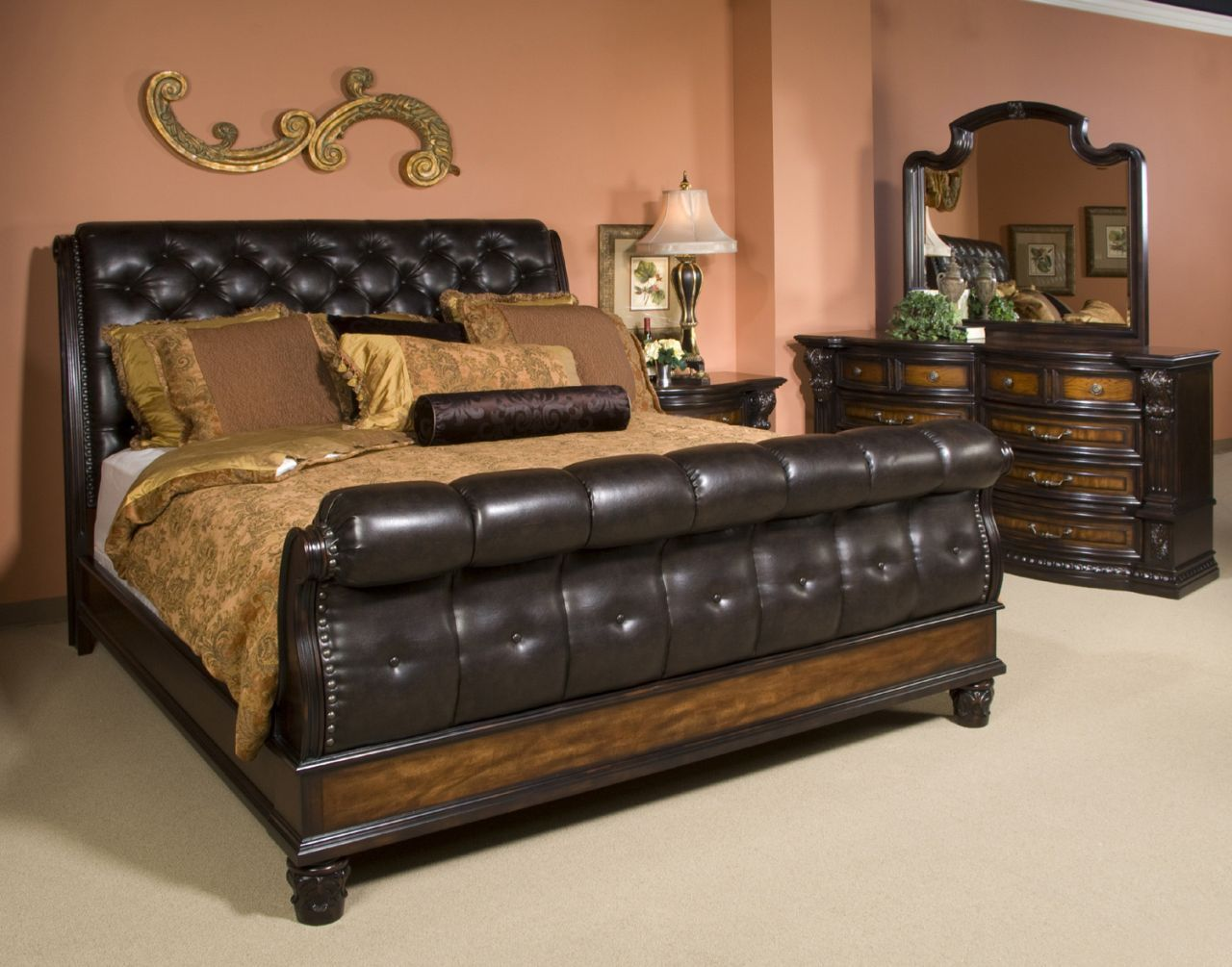Fairmont Designs Bedroom Sets Fair Grand Estates Tufted Leather Sleigh Bed Queen Fairmont Designs Decorating Inspiration