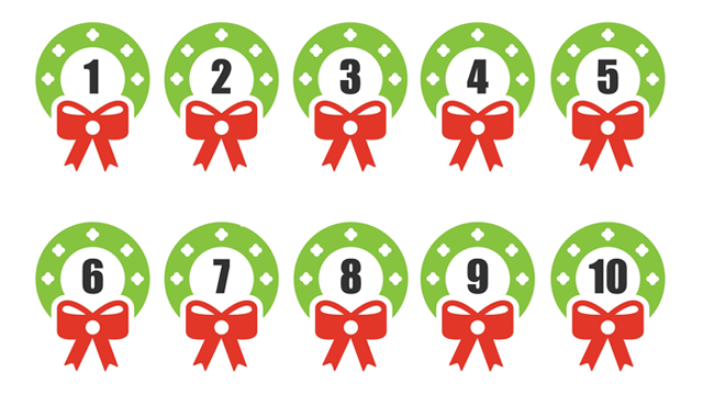 image relating to Christmas Numbers Printable titled Xmas Wreaths Range