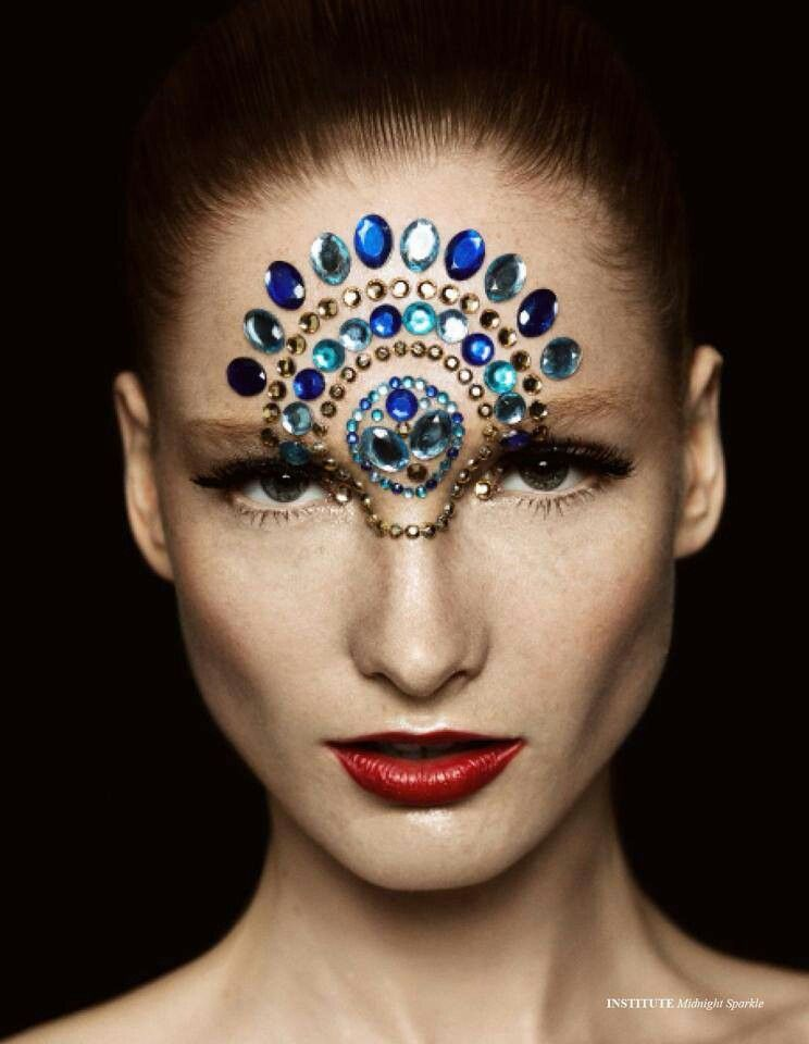 Gem Face | High Fashion Makeup | Pinterest | Gems Face And Rhinestone Makeup