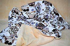 Textil - Detská deka sovičky -bavlna + wellsoft rozmer 90x70cm