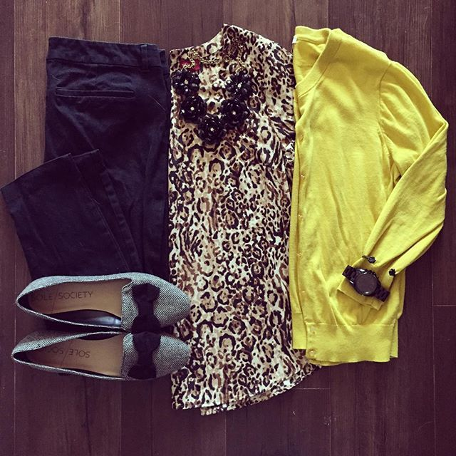 Mustard + leopard for Friday eve!  Shop my look by signing up for @liketoknow.it and liking this pic, or type this link into your browser  www.liketk.it/1LJ4k #liketkit #ootd #wiwt #whatiwore #lotd #outfit #workwear #leopard #solesociety #jcrew #shannonsastylechallenge28 #stylemeseptember #fallintobellastyle