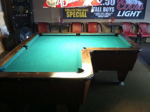 L Shaped Pool Table Coin Operated Pool Balls Included Pool