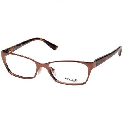 Óculos de Grau Feminino Vogue VO3816 Marrom Metálico com Demi Metal Pequeno 3a4b8c6e8a