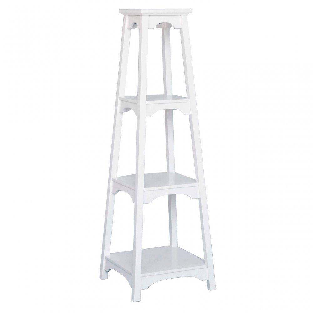4 Tier Tapered Shelf unit White Wood | Tower & Tiered ...