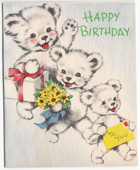 Vintage birthday card a greeting from three bears happy birthday vintage birthday card a greeting from three bears bookmarktalkfo Images