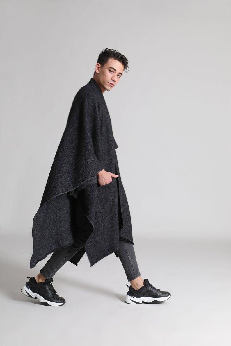 Oversized Black Cloak Wool Mens Poncho Winter Cape Coat Etsy Mens Poncho Winter Cape Coat Black Long Sleeve Dress
