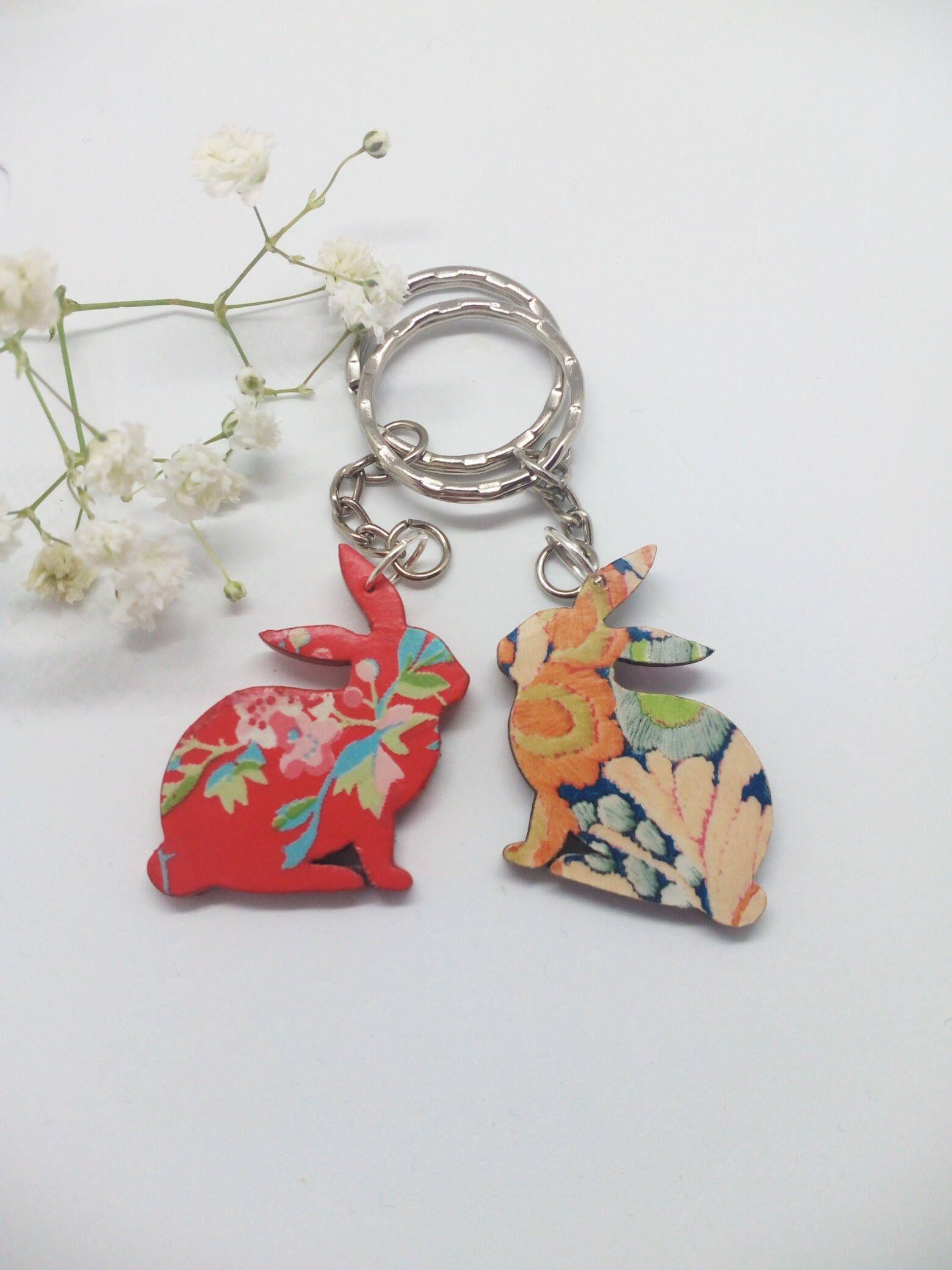 Easter bunny keychains , decoupage bunny keychain , bunnies