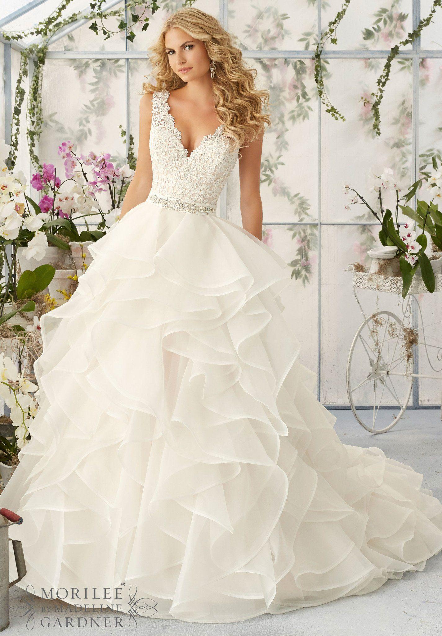 Mori Lee 2805 Tank Lace Ruffle Ball Gown Wedding Dress Off White Ball Gown Wedding Dress Organza Skirt Wedding Dress Ball Gowns Wedding