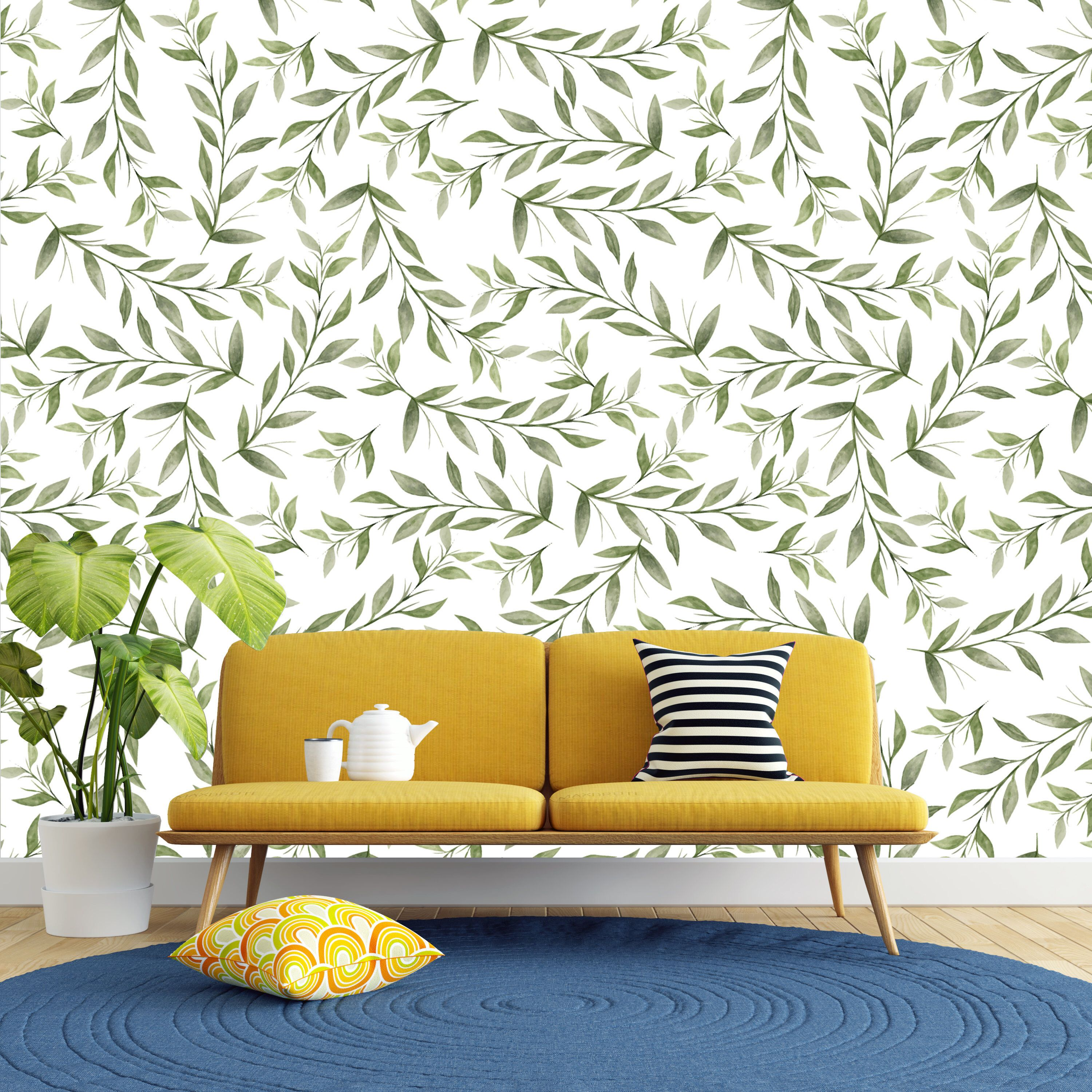 Removable Wallpaper Green Watercolor Leaves Peel and