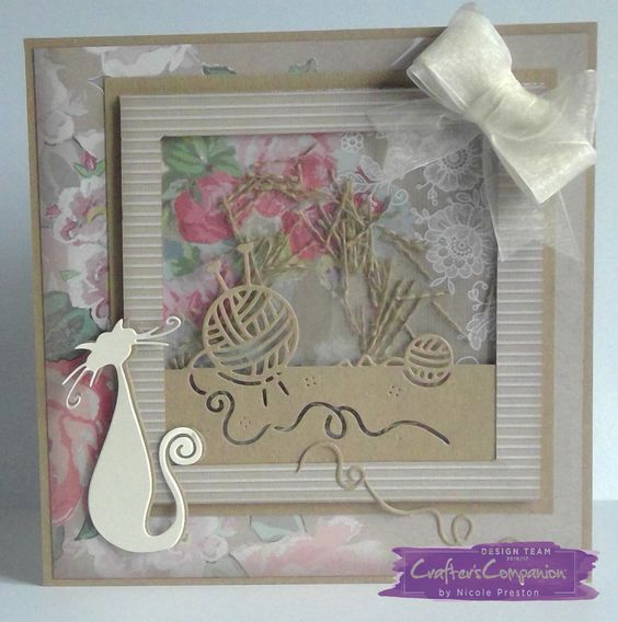 8x8 Card. Made using Crafter's Companion Die'sire Hobby Edge'ables -  Knit It Die, Designed by Nicole Preston #crafterscompanion