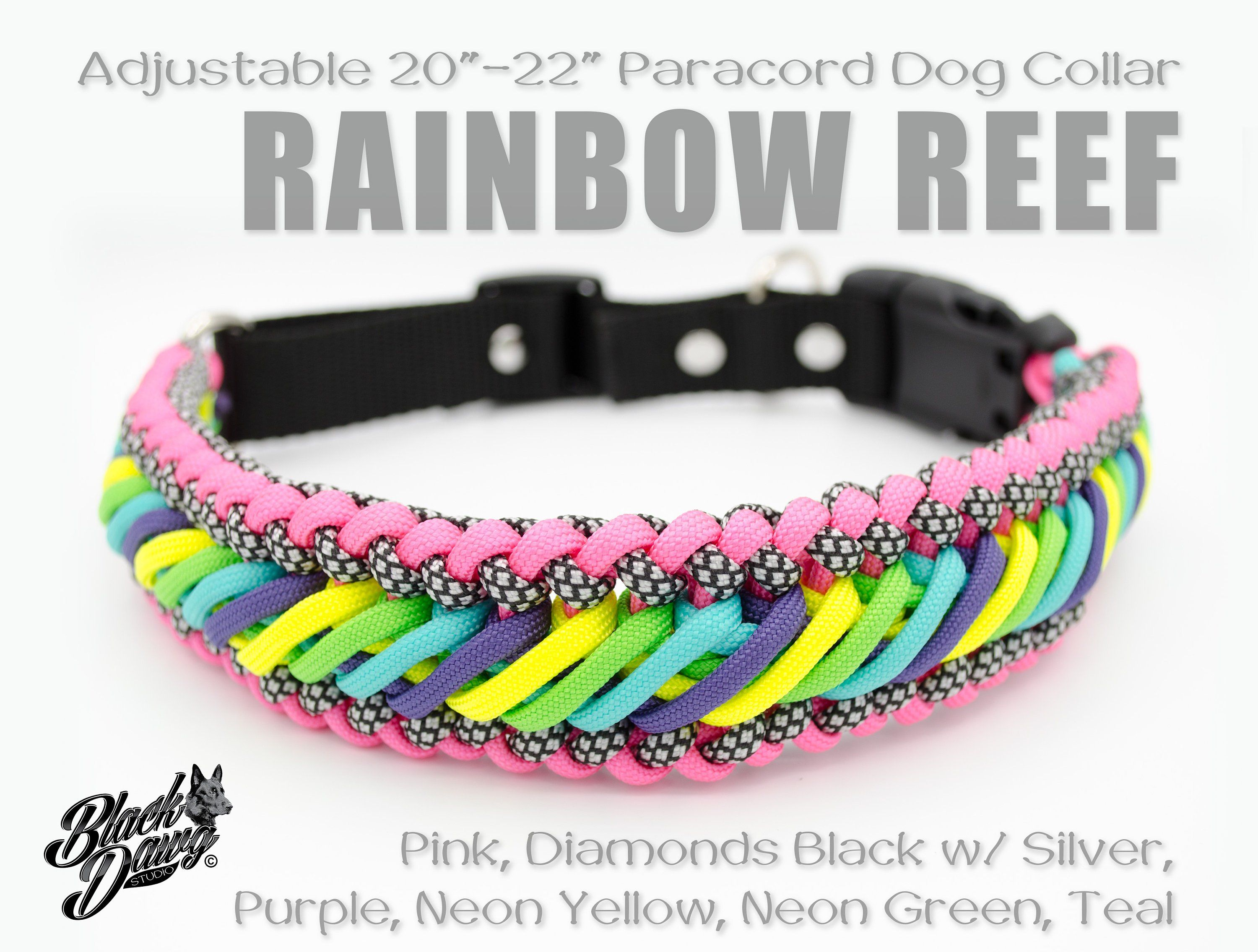 Adjustable 20 22 Paracord Dog Collar Rainbow Reef Design