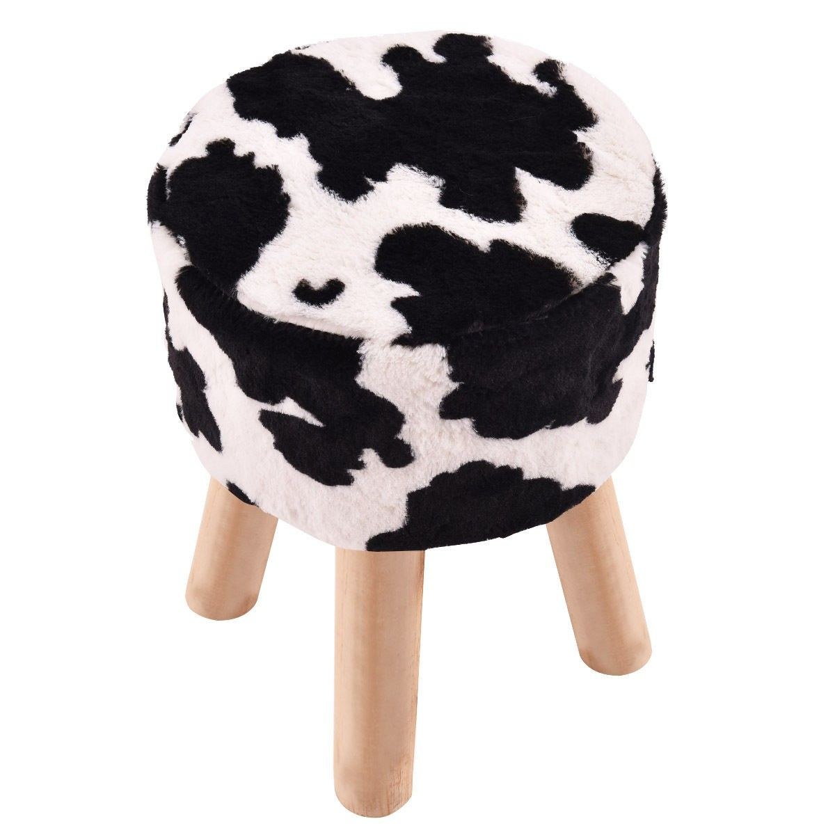 Cow Pattern Faux Fur Round Stool With 4 Wooden Legs