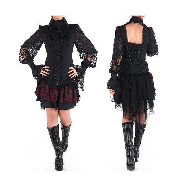 42e405b7a2ae Camisa Victoriana Negra Gótica estilo Ropa Gotica   Estilo gótico ...
