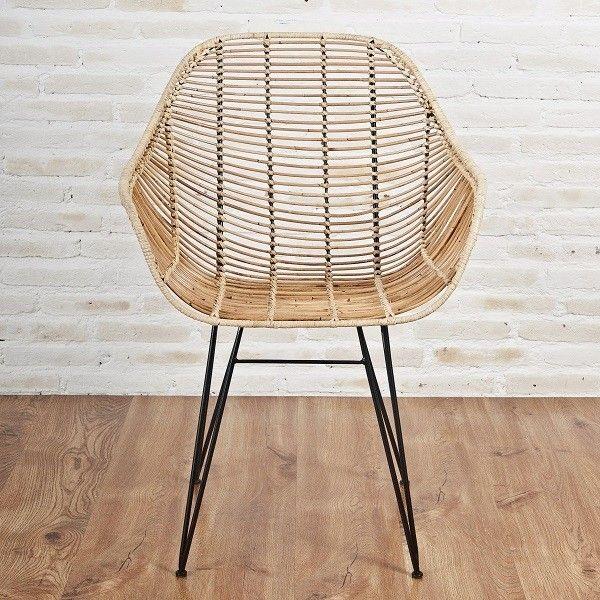 Rattan Designstuhl Mit Armlehnen Vintage Retro Rattan