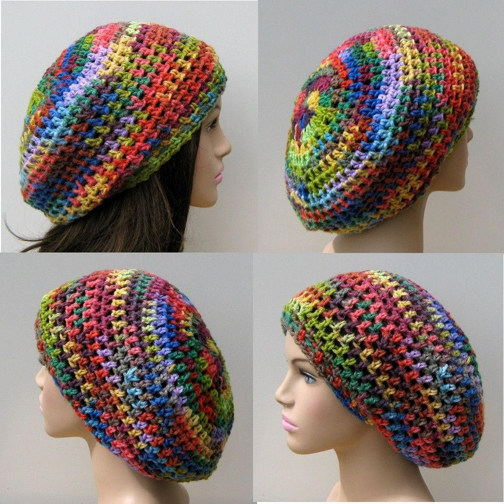 Fun colors slouchy beanie, small dread tam hat, slouch beanie ...