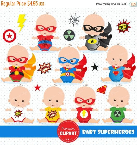 80% OFF SALE Superheroes baby clipart by PremiumClipart on ...