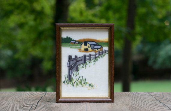 Small Vintage Barn and Fence Crewel Embroidery by theretrobeehive