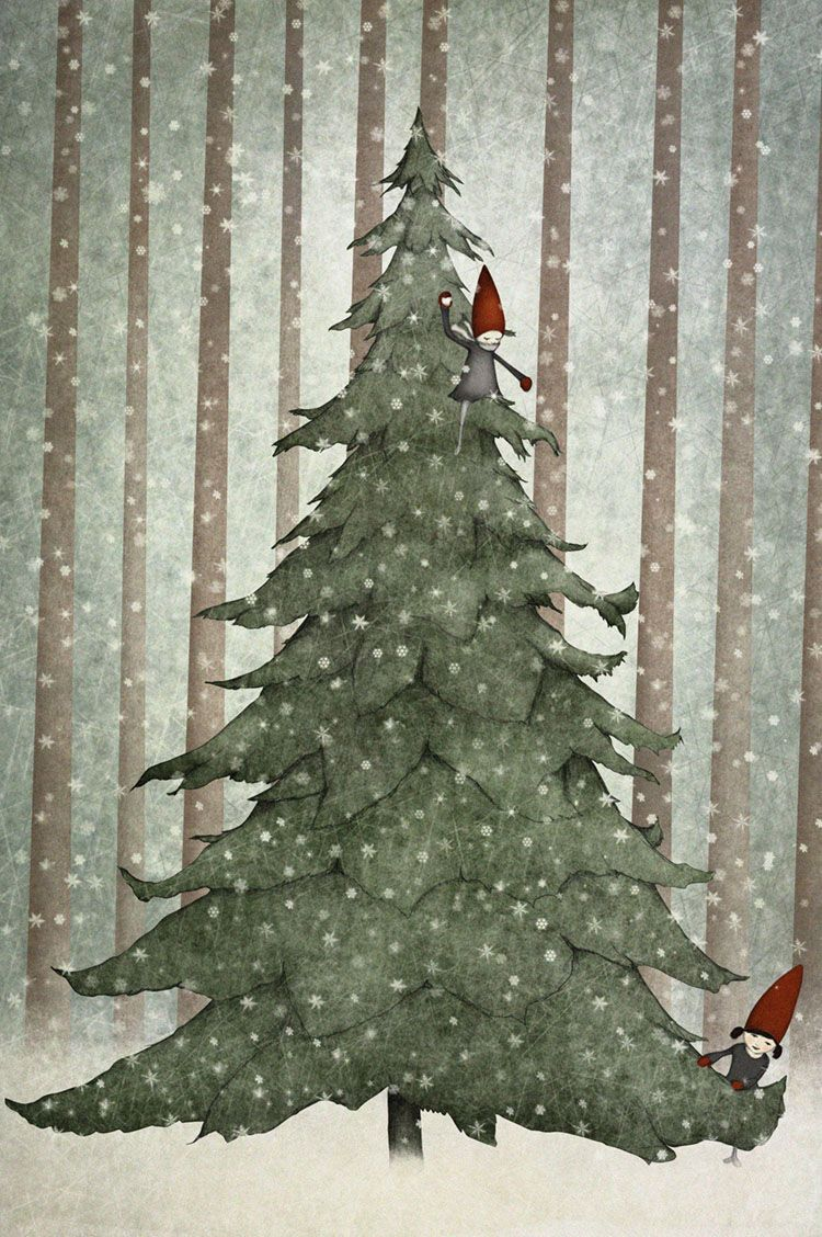 Illustrations By Maja Lindberg Christmas Tree Drawing Christmas Art Tree Drawing