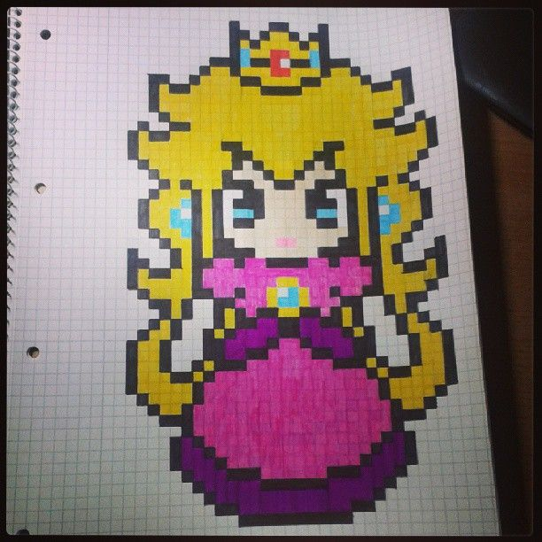Princess Peach Perler Bead Pattern By Pixelart Dessin