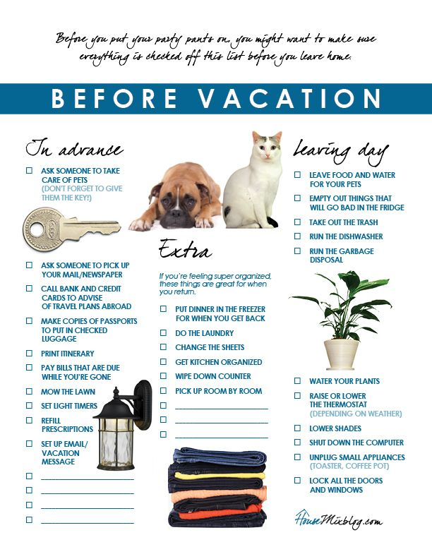 Travel Part  Before Vacation Checklist  Vacation Checklist