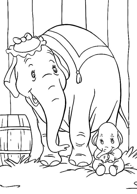Baby Dumbo With Mother Coloring Pages - Dumbo Coloring Pages ...