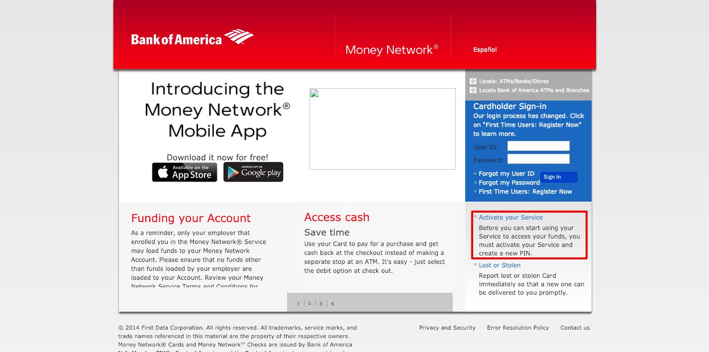 Money Network Homepage Bank of America Bank of america