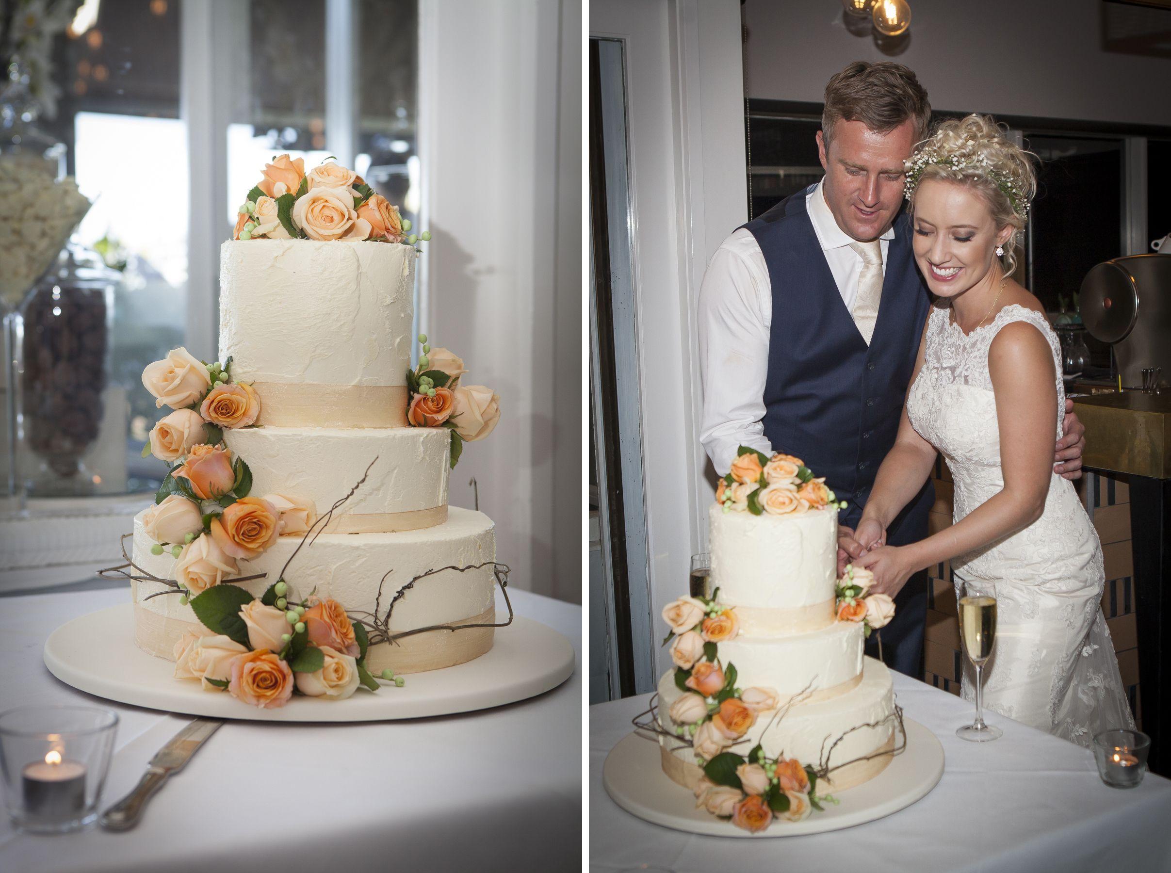 Alex And Ryans Three Tier Wedding Cake Decorated With Fresh Flowers Dodda