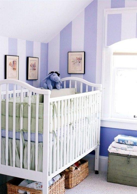 Wanddeko Lila Streifen Ideen Für Kleines Babyzimmer Gestalten