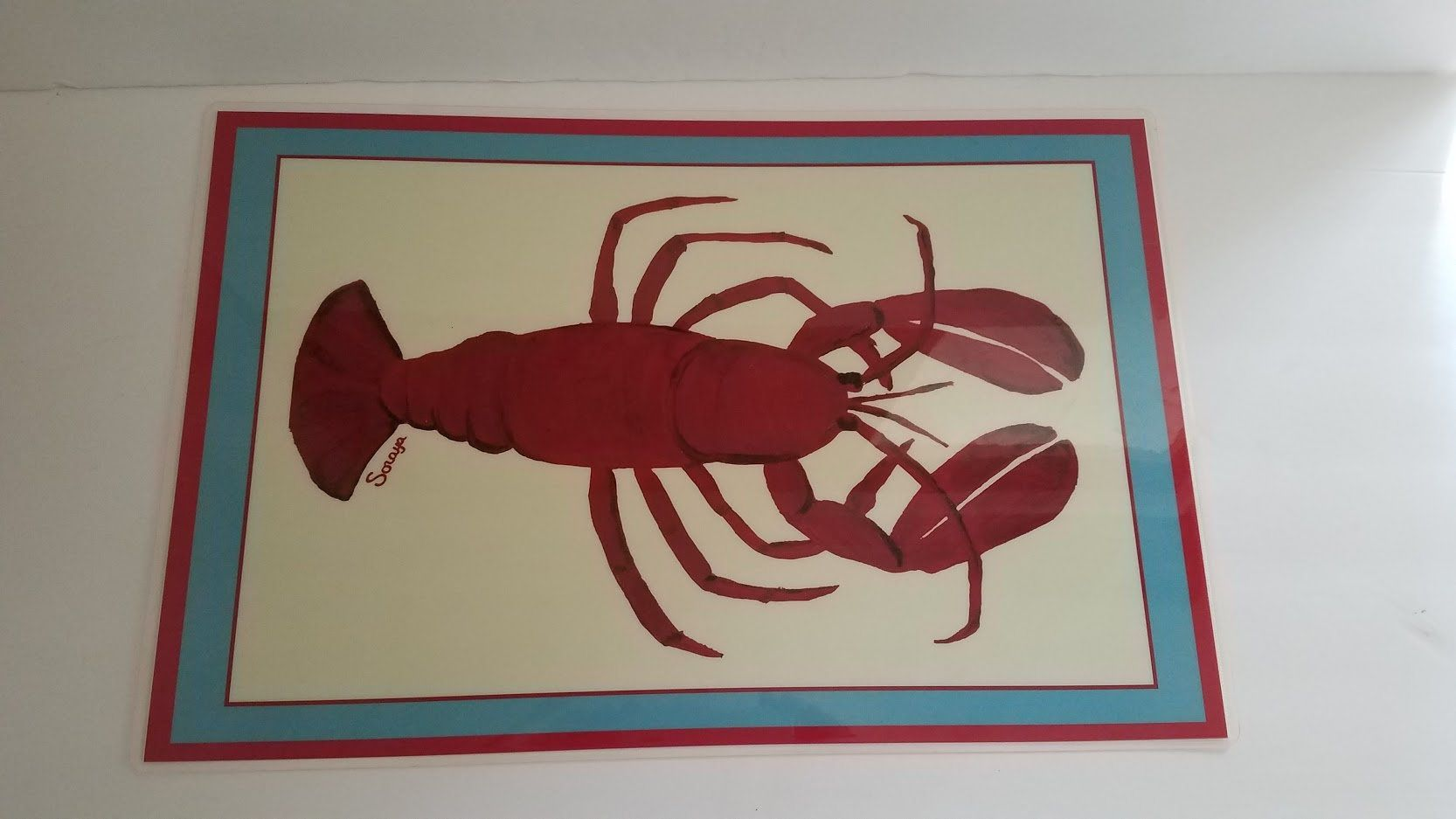 Soraya Jones Laminated Lobster Place Mats Approximately 18 Inches By 11 75 Inches Red White And Blue Red Lobster On One Side Placemats Red Polka Dot Etsy