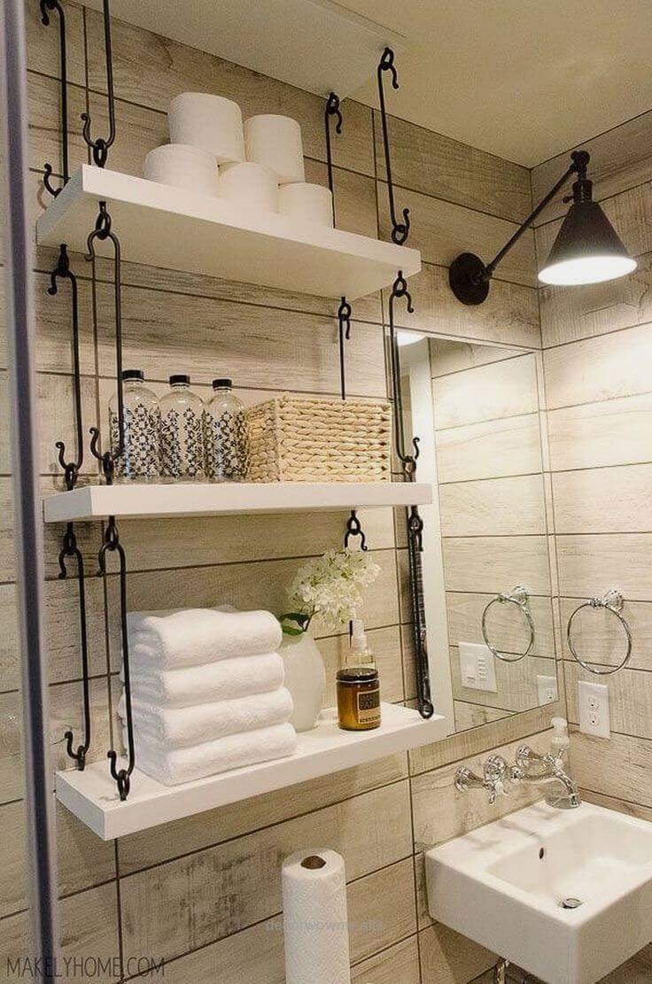 Farmhouse Bathroom Hanging Over-Toilet Shelves | Toilet shelves ...