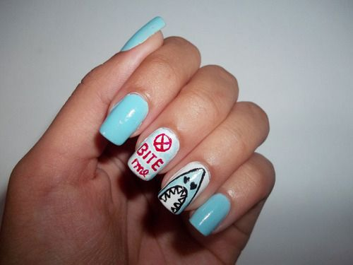 55 Killer Shark Nail Designs Nails Pinterest Shark Square