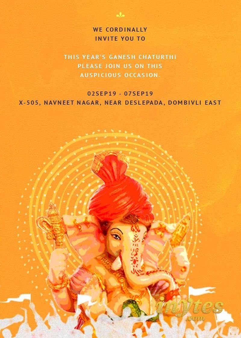 Invitation - Ganesh Chaturthi | Ganpati invitation card ...