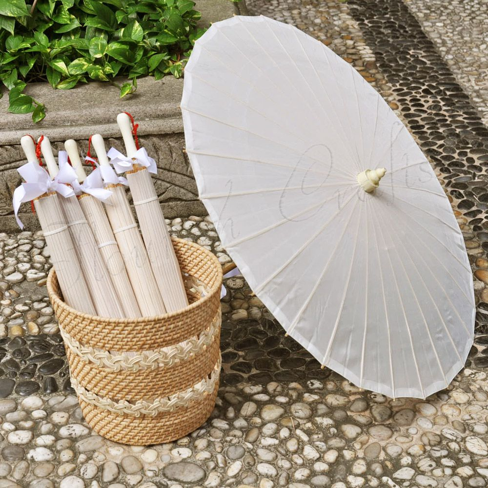 Plain Fabric Parasol wedding favor parasols are made by hand form ...