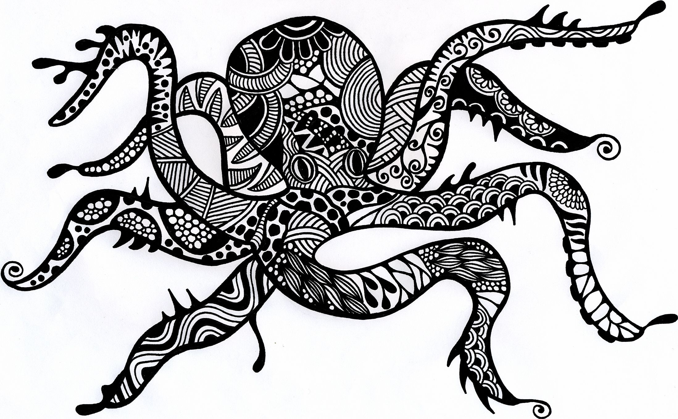 the gallery for gt octopus black and white drawing