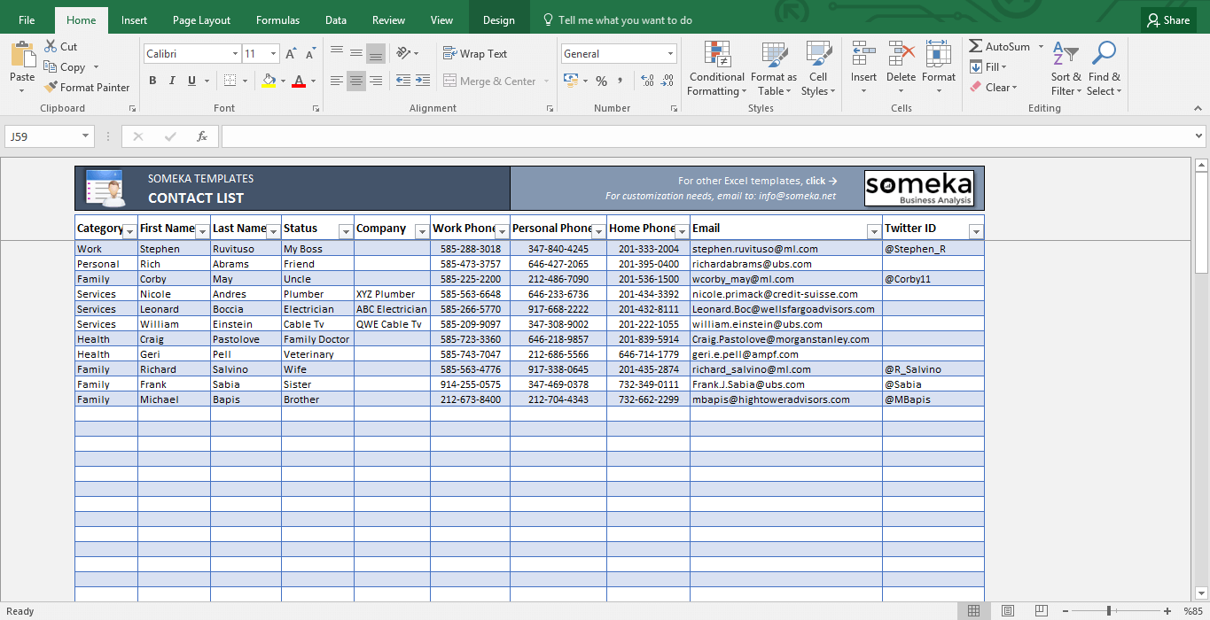 Contact List Template In Excel  Template And Easy