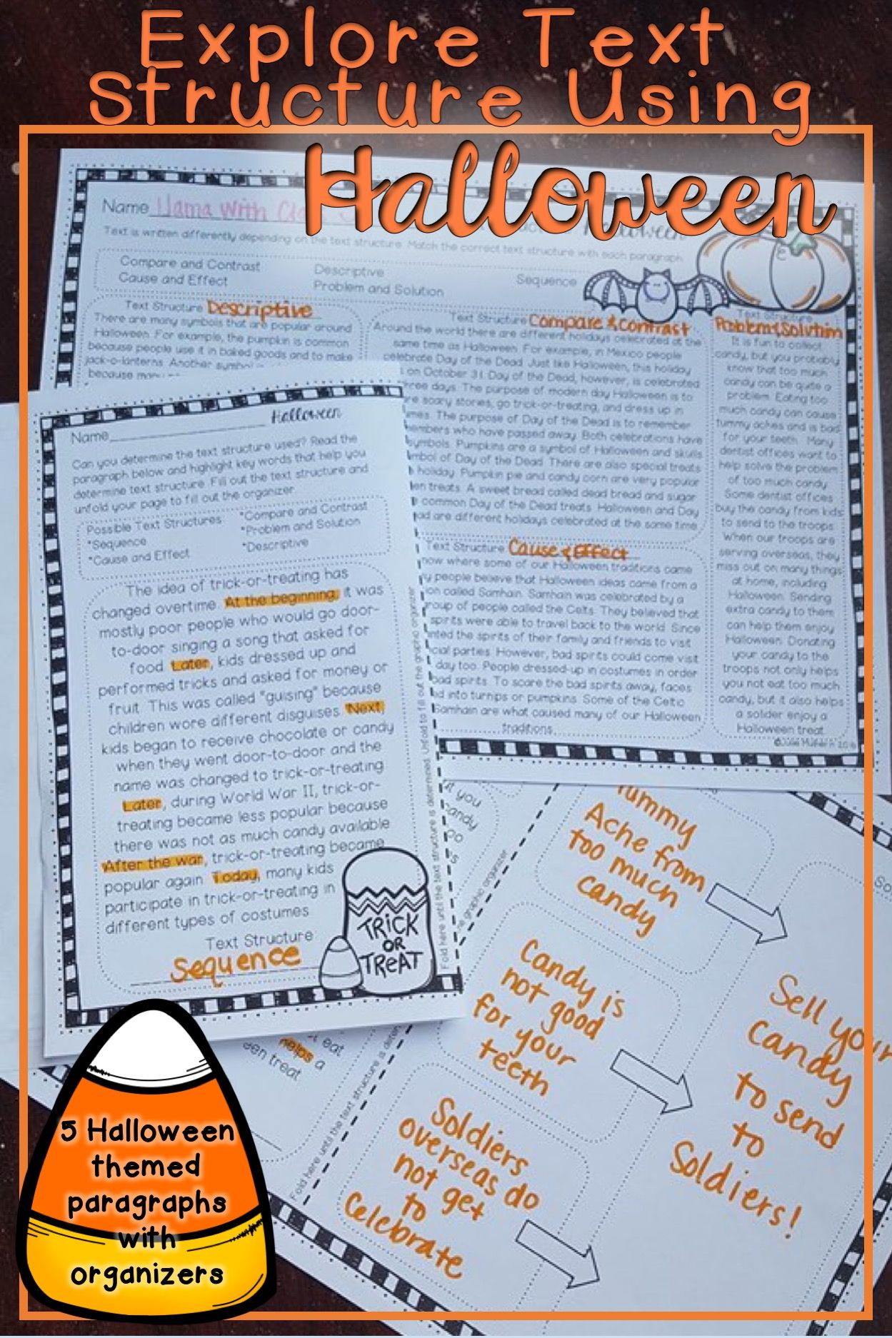 Halloween Text Structure Worksheets