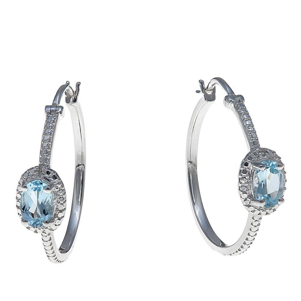 5b2f81765 Sevilla Silver™ 1.42ctw Sky Blue Topaz Solitaire Diamond-Accented Hoop  Earrings