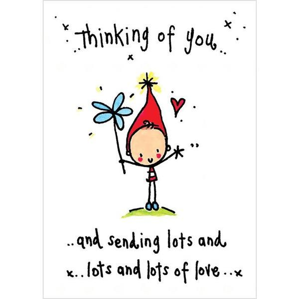 Thinking Of You Lots Of Love  Card is part of Hug quotes - Cute and dinky little card from Juicy Lucy Size 80mm x 110mm Blank inside Blue envelope Cards can either be sent to you or directly to the recipient with a handwritten message of your choice