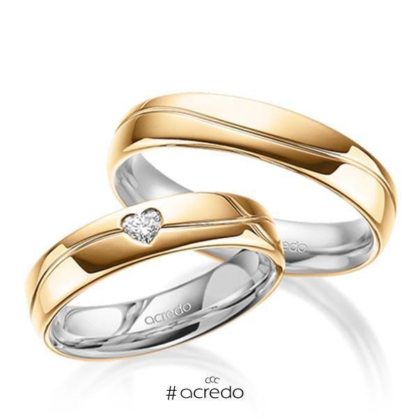 27f2d77d57ab Alianzas de boda con diamante en forma de corazón