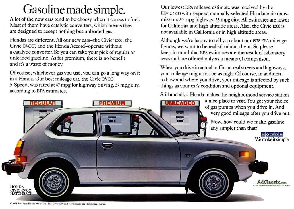 78 Honda Civic (economy cars have come a long way...) This was the ...