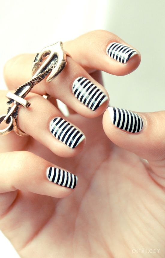blanco y negro uñas!