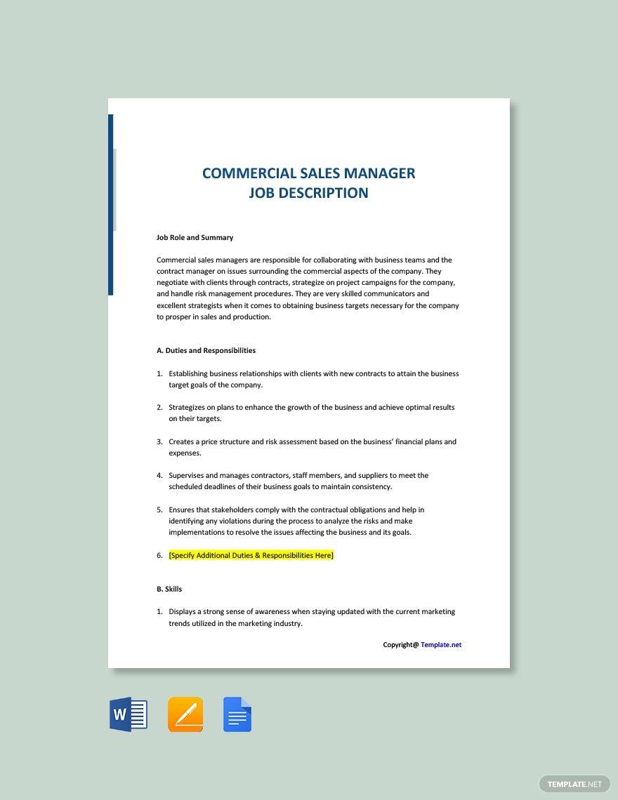 Free Commercial Sales Manager Job Description Template Ad Paid Sales Commercial Free M Sales Manager Jobs Job Description Template Job Description