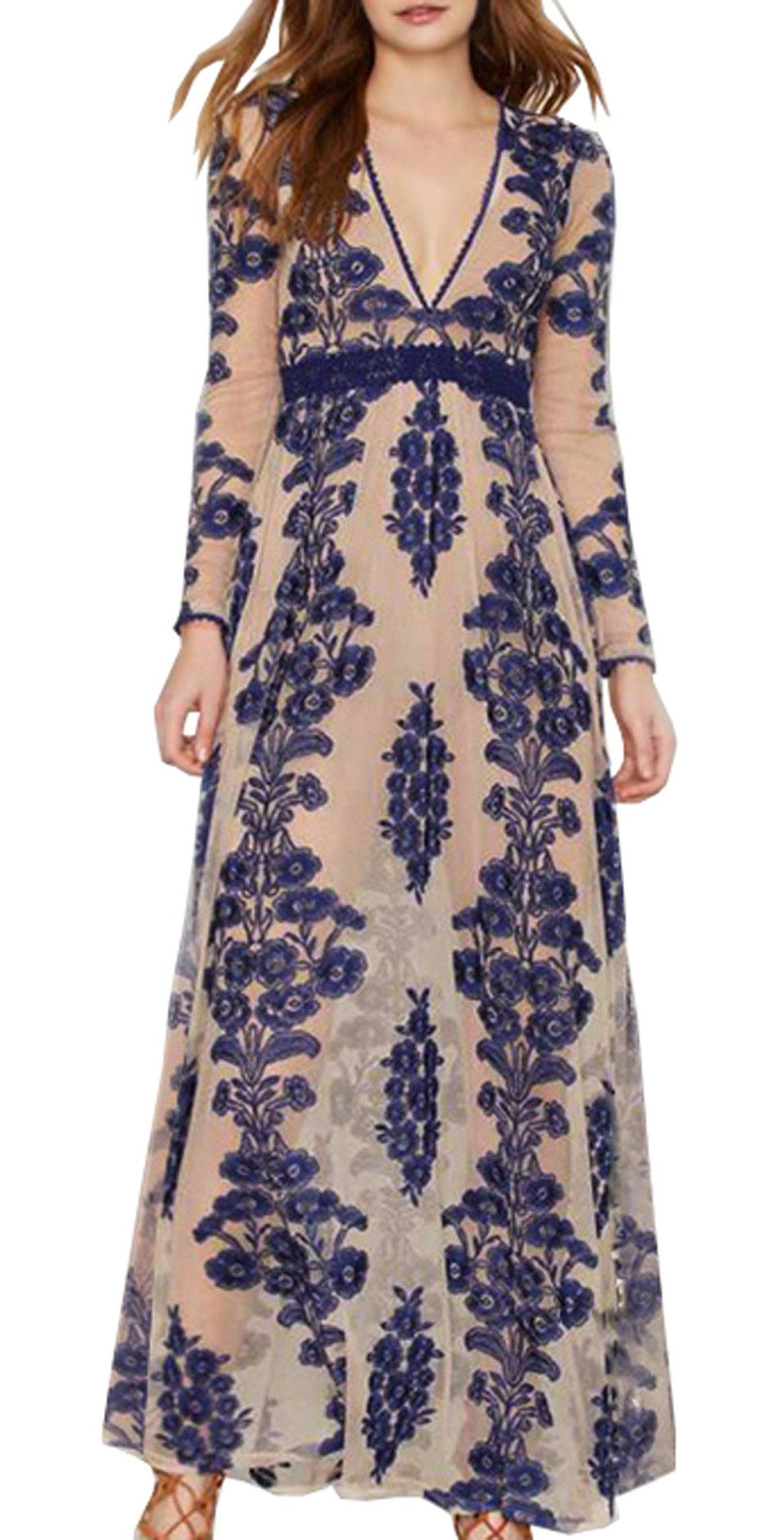 7c02c8fd12c R.Vivimos Women Long Sleeve V Neck Floral Embroidered Elegant ALine Maxi  Dress Small Blue     You can find out more details at the link of the image.