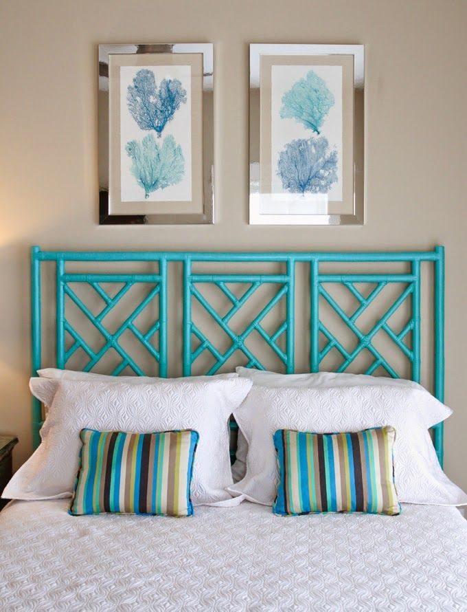 Love The Turquoise Bamboo Headboard! This Is Probably Super Easy And  Inexpensive.
