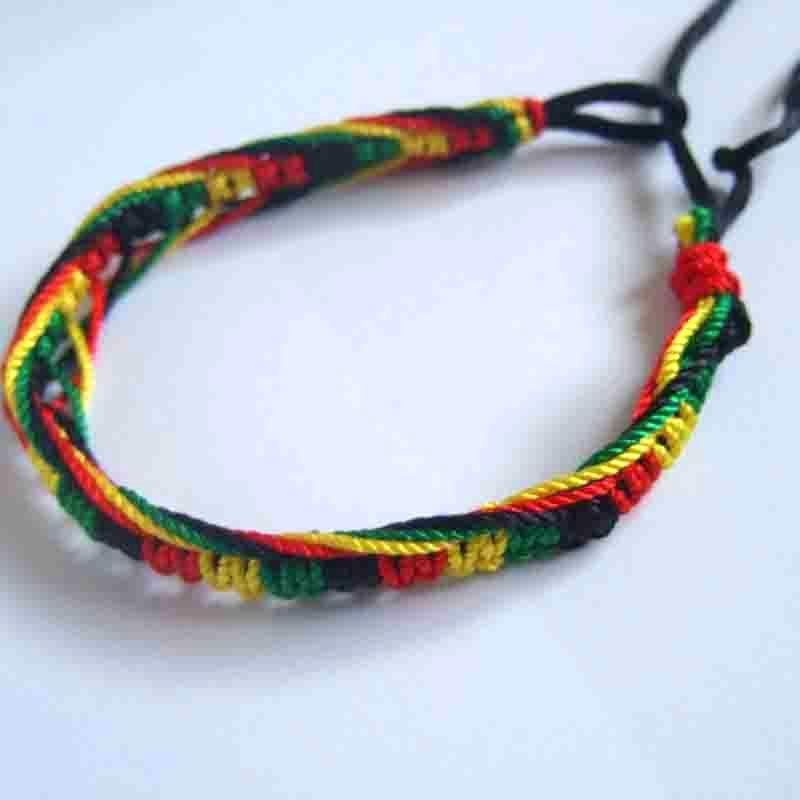 2pcs Handmade Cotton Silk Cord Rasta Hippie Jamaican Color Friendship Bracelet